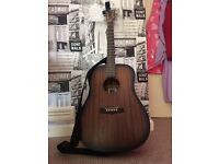Full size, Tanglewood acoustic guitar. With case, strap and electric tuner.