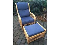 Cane Armchair with Footstool - blue cushions, excellent condition