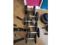6x iron dumbells, 65kg total