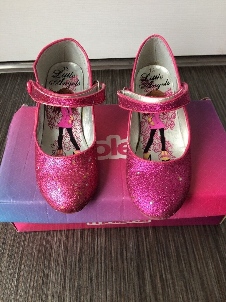 73ad6611808 Girls disco party dress up pink glitter shoes with small heel