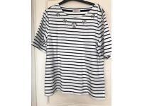 Per Una T- Shirt with neck decoration