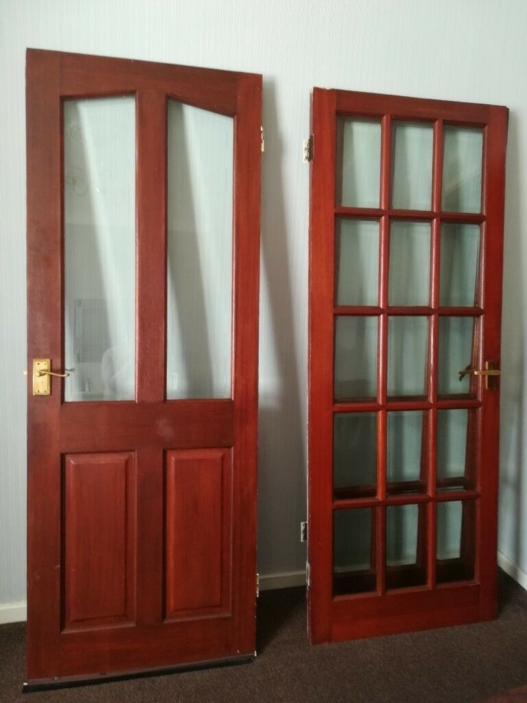 Both Glass Panelled Doors Sold Only Half Glass Remaining In Leigh