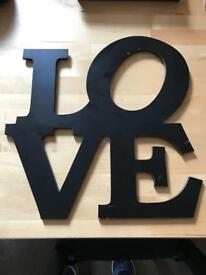 LOVE - WOODEN PLAQUE - BLACK - GREAT CONDITION