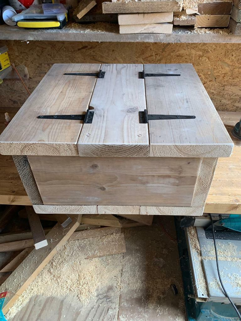 Handmade Rustic Square Storage Chest Coffee Table Chunky Pine