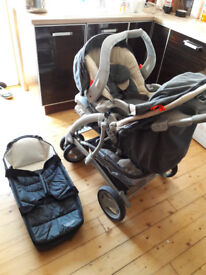 Graco pushchair full set including car seat, car seat base,newborn carrycot, from birth up to 15kg