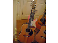 MARLIN Cut-Away Semi Acoustic. Seasoned 6 string for right hand player. vgc for age