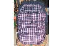 Cosy and warm zip up, padded buggy liner/cosy toes navy tartan