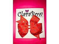 ClaraBow Red Bow with Diamanté Detailing