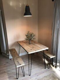 Handmade Reclaimed Kitchen Table & Bench Set