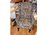 Vintage Style High Back Winged Chair . Armchair.Queen Anne Legs