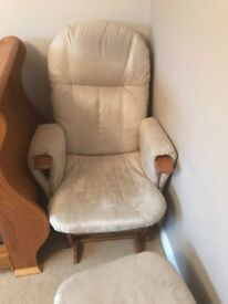 Nursing chair and footstool, tutti bambino, excellent condition