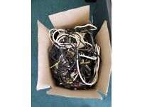 BOX FULL OF TV AND AUDIO CABLES