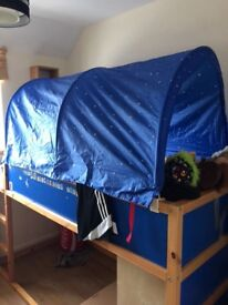 Ikea mid sleeper bed with tent