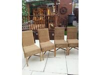NEXT RATTAN DINING CHAIRS X 4