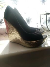Ladies new looks shooes size 6 sparkling wedge