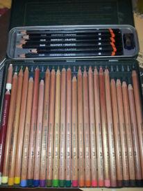 24 Faber-Castell Pastel Pencils, 6 Derwent Graphite Pencils, Paper, Chisel...