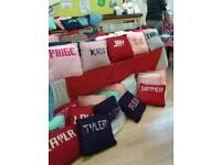 Personalised hand knitted named cushions