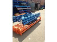 8 bay run of STOW pallet racking ( industrial shelving /storage).