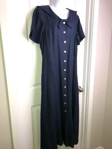 Vtg Carol Anderson Linen Maxi Dress Sz 14 Sailor Collar Navy Button Down 40s Lk
