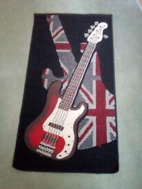 British flag electric guitar mat in red