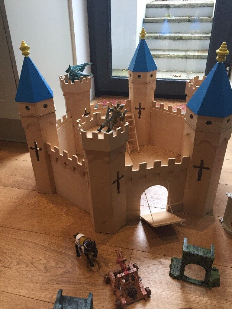 Wooden castle and toys