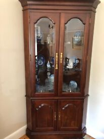 **MOVING SALE!** Solid Black Cherry Corner Glass Display Cabinet - 18th Century Reproduction