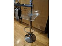 360 degree Swivel Adjustable Kitchen Bar Stool - clear seat with chrome finish