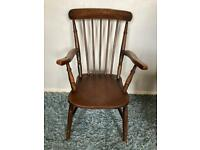 Large Wooden Mid-century Farmhouse Chair