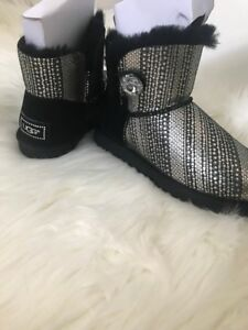 BRAND NEW SZ 6 Authentic Ugg Mini Bailey Button Bling Metallic