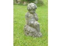 Vintage Well Weathered Cherub Garden Statue Garden Ornament 37cm Tall