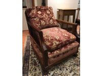 Vintage bergere rosewood cane sofa and armchairs, cane conservatory