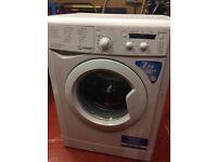 Indesit Washing Machine/Flavel Electric Cooker/Fridge-Freezer/Electric Fire/Black Glass TV Stand