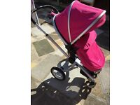 Silver cross surf pram and pushchair in pink excellent condition