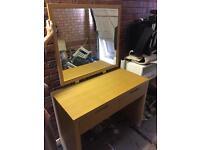 Modern oak dresser mirror and matching suede stool