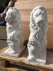 STONE CLEARANCE SALE - large lions (pair)