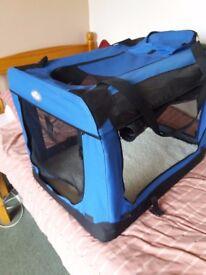 Easipet Large Blue Fabric Pet Carrier 70cm x 52cm x52cm.