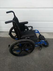 "#410   17"" Quickie Blue Frame manual folding wheelchair"