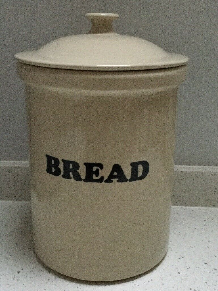 Bread Bin Large Vintage Ceramic Stoneware Container By