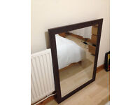 Leather framed large mirror