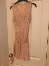 Peach lace belted skater dress size 10