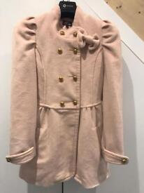 Blush winter coat ladies size 10-12 double breasted pink dress coat yumi brand
