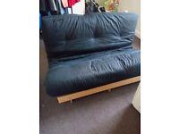 Double Ikea sofa / bed wooden frame, black mattress