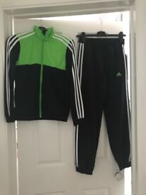 Black/ Green ,adidas boys tracksuit, size 11-12