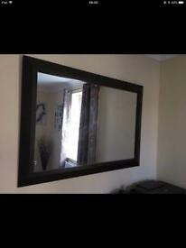 Large brown wall mirror