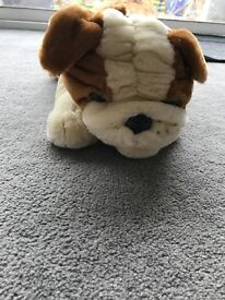 Large cuddly bulldog toy.