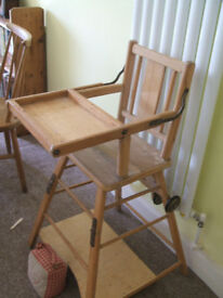 Vintage wooden high/low chair.