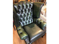 Chesterfield Wingback Chair , in bottle green . In good condition. Free Local Delivery