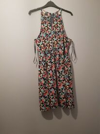 Womens New Look Black Floral Dress Size 16