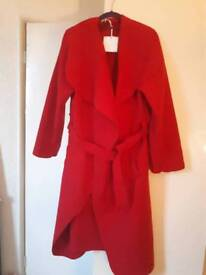 Red waterfall coat