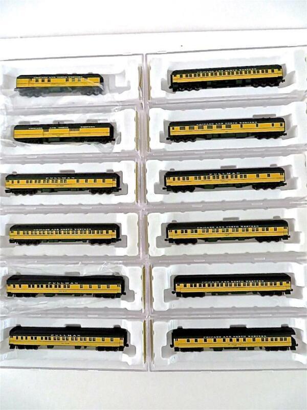 AZL Set of 12 Z Gauge C&NW Chicago & Northwestwen Passenger Cars NEW (141NEX)